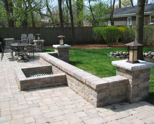 stone wall and lawn